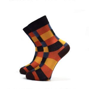 Oranžovo-žluto-modré kostkované ponožky