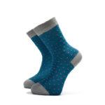 Tyrkysové ponožky s růžovými puntíky