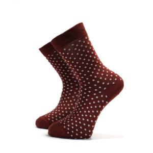 Vínové ponožky s bílými puntíky