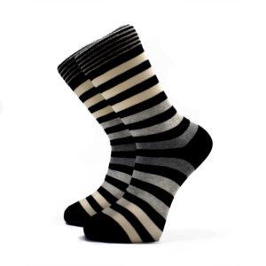 Šedo-béžové pruhované ponožky