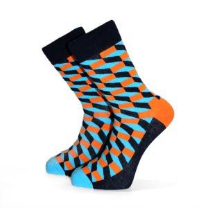 Tyrkysovo-oranžové ponožky se 3D vzorem